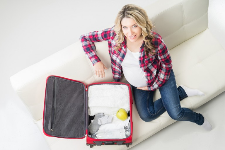 pregnant woman packing hospital bag
